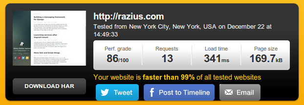 Page load speed for static website